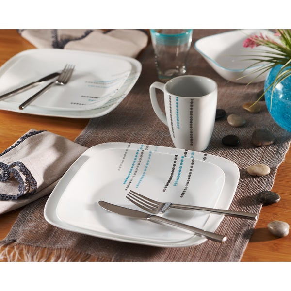Corelle Rain Drops Square 16-Piece Dinnerware Set  sc 1 st  Overstock & Shop Corelle Rain Drops Square 16-Piece Dinnerware Set - Free ...