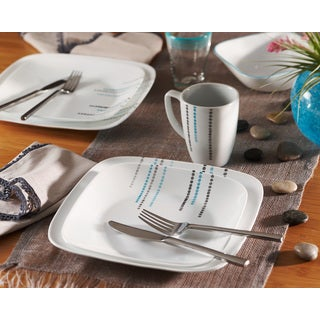 Corelle Rain Drops Square 16-Piece Dinnerware Set