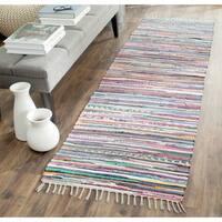 Safavieh Hand-Woven Rag Rug Grey/ Multi Cotton Rug - 2' 3 x 8'