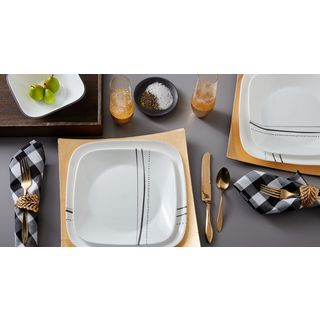 Corelle Cascading Lines Square 16-Piece Dinnerware Set