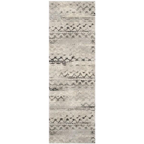 Retro Modern Rug: Safavieh Retro Modern Abstract Cream/ Grey Distressed Rug