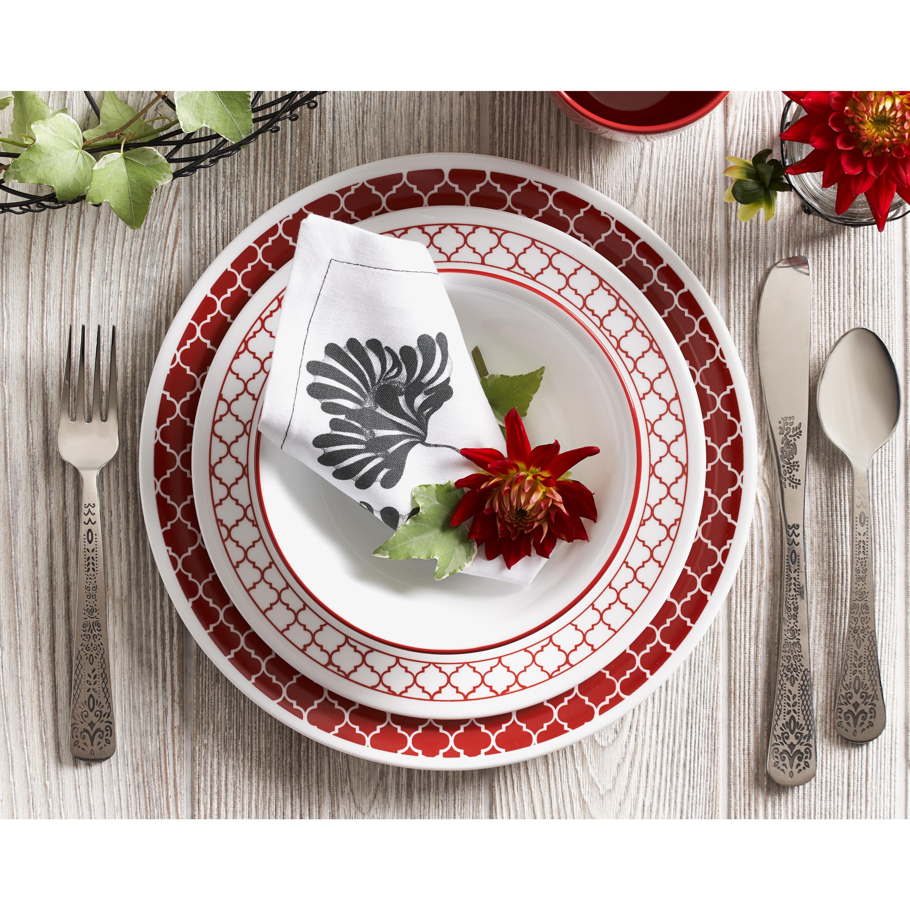 Corelle Crimson Trellis 16-Piece Dinnerware Set (Crimson ...