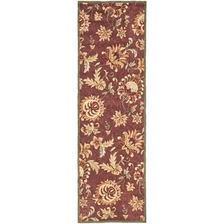 Safavieh Hand-hooked Easy to Care Maroon/ Green Rug (2' 6 x 8')