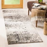 Safavieh Retro Modern Abstract Light Grey / Grey Distressed Rug - 2' 3 x 7'