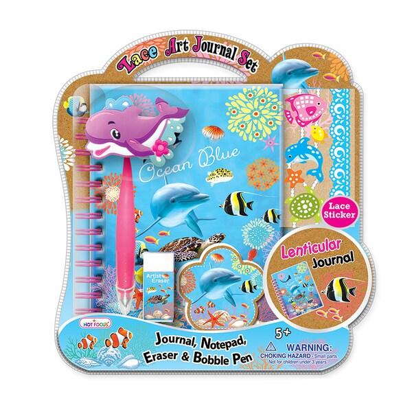 Ocean Blue 3D Lace Art Journal Set with Bobble Pen