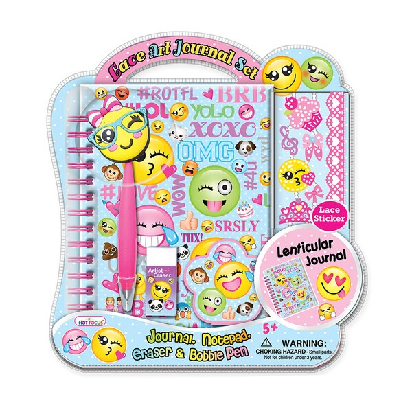 Hot Focus Emoji 3D Lace Art Journal Set with Bobble Pen