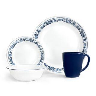 Corelle Old Town Blue 16-Piece Dinnerware Set  sc 1 st  Overstock.com & Shop Corelle Livingware True Blue 16-piece Dinnerware Set - Free ...