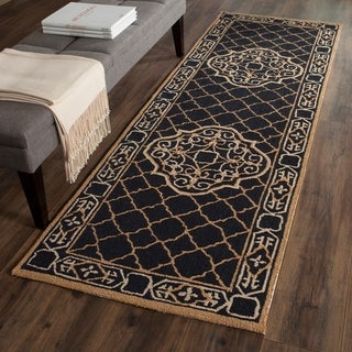 Safavieh Hand-hooked Easy to Care Black/ Gold Rug (2' 6 x 10')
