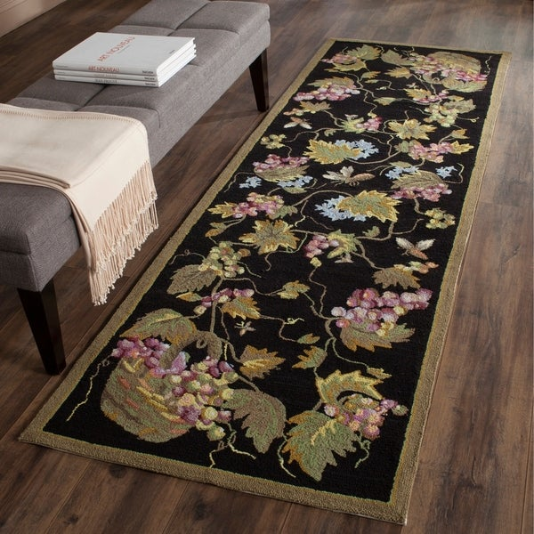 Safavieh Hand-hooked Easy to Care Black/ Multi Rug - 2' 6 x 10'