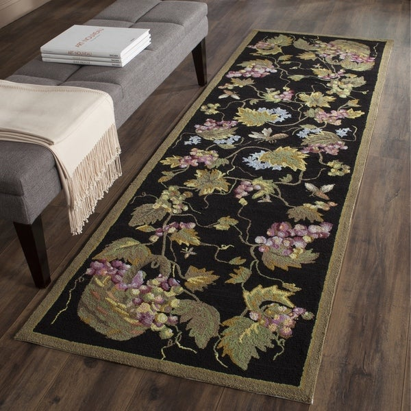 Safavieh Hand-hooked Easy to Care Black/ Multi Rug (2' 6 x 10')