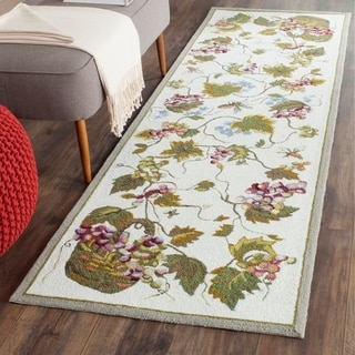 Safavieh Hand-hooked Easy to Care White/ Multi Rug (2' 6 x 10')