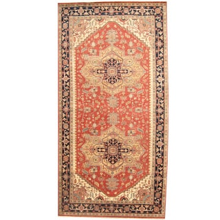 Herat Oriental Indo Hand-knotted Serapi Red/ Navy Wool Runner (8'10 x 17'7)