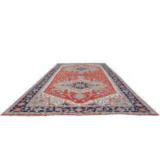 Herat Oriental Indo Hand-knotted Serapi Red/ Navy Wool Runner (8'11 x 19'6)