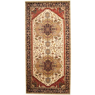 Herat Oriental Indo Hand-knotted Serapi Ivory/ Black Wool Runner (8'9 x 18'1)