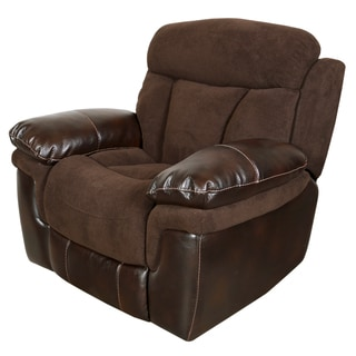 Porter Buck Chocolate Microfiber and Faux Leather Gliding Recliner