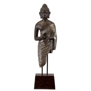 Polished Resin Radiant Buddha On Stand