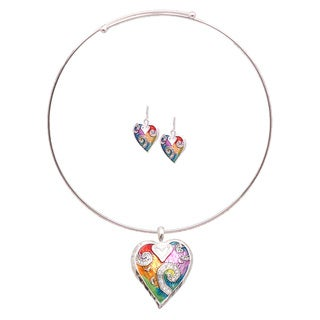 Bleek2Sheek Rainbow Mosaic Heart Choker Necklace and Earring Jewelry Set