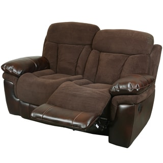 Porter Buck Chocolate Microfiber and Faux Leather Reclining Loveseat