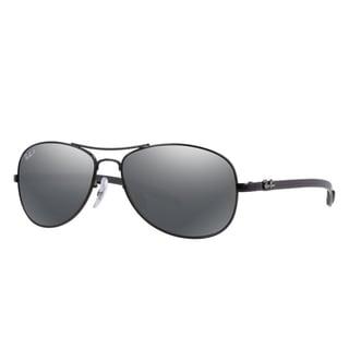 Ray-Ban RB8301 002/K7 59mm Polarized Grey Mirror Lenses Black Frame Sunglasses