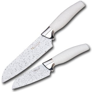 Culinary Edge by Kalorik Premium 2 Piece 5'' & 7'' White Marble Coating Santoku Knife