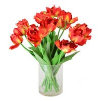 Parrot Tulip Faux Floral in Glass Vase