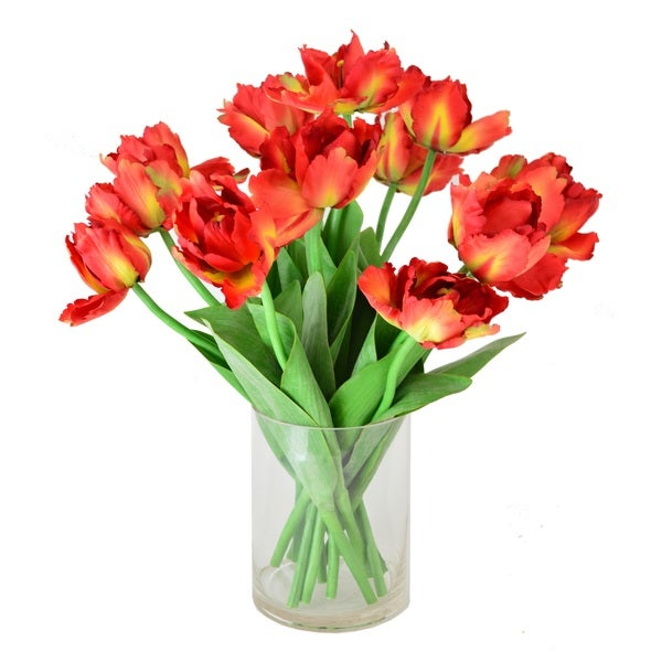 Parrot Tulip Faux Floral in Glass Vase