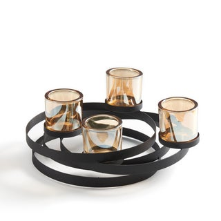 Danya B Circles Metal Candleholder with Iridescent Glass Cups