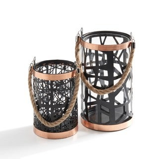 Danya B Set of 2 Filigree Hurricanes with Glass Insert, Rose Gold Trim and Rope Handle