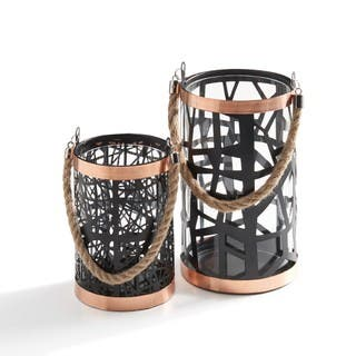 Danya B Set of 2 Filigree Hurricanes with Glass Insert, Rose Gold Trim and Rope Handle|https://ak1.ostkcdn.com/images/products/11736163/P18654391.jpg?impolicy=medium