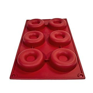Sorbus Red Silicone 6 Donut Baking Mold