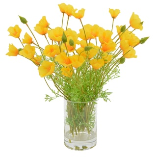Yellow Poppy Bouquet In Acrylic Water Filled Vase