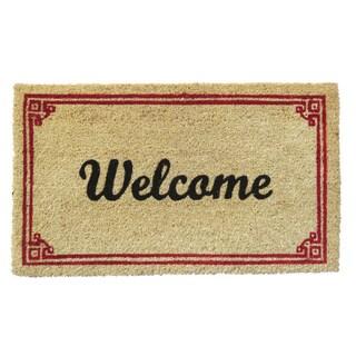 'Welcome' with Border Coir Doormat