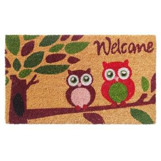 'Welcome' with Owls Coir Doormat