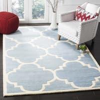 Safavieh Handmade Chatham Blue/ Ivory Wool Rug - 4' Square