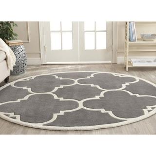 Safavieh Handmade Chatham Dark Grey/ Ivory Wool Rug (9' Round)