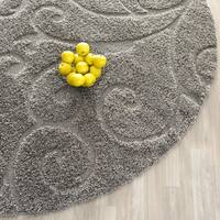 Safavieh Florida Shag Scrollwork Elegance Dark Grey Area Rug (5' Round)