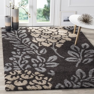 Safavieh Ultimate Shag Dark Brown/ Slate Grey Floral Area Rug (6' 7 Square)