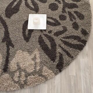 Safavieh Ultimate Shag Smoke/ Dark Brown Floral Area Rug (5' Round)