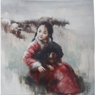 Wall Art with Young Girl and Dog Cuddling