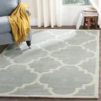 Safavieh Handmade Chatham Grey/ Ivory Wool Rug - 4' x 4' Square
