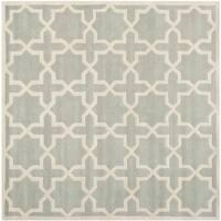Safavieh Handmade Chatham Grey/ Ivory Wool Rug - 5' x 5' square