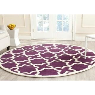 Safavieh Handmade Chatham Purple/ Ivory Wool Rug (7' Round)