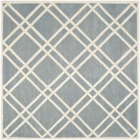 Safavieh Handmade Chatham Blue/ Ivory Wool Rug - 7' Square