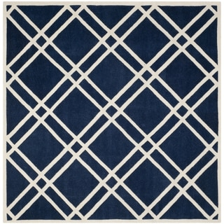 Safavieh Handmade Chatham Dark Blue/ Ivory Wool Rug (7' Square)