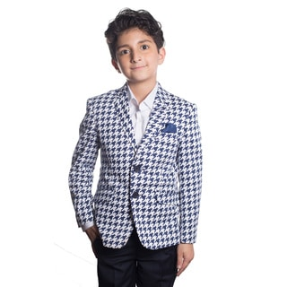 Elie Balleh Boy's Slim Fit Milano Italy 2016 Style Jacket/Blazer with Blue and White Houndstooth Design
