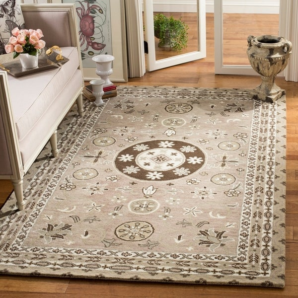 Safavieh Handmade Bella Taupe/ Light Grey Wool Rug - 4' x 6'