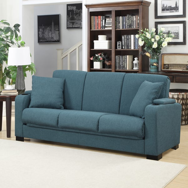 Simple Elegant Handy Living Storage Arm Convert a Couch Blue Linen Futon Sleeper Sofa Top Design - Style Of handy living convert-a-couch sleeper sofa Photos