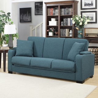 Handy Living Storage Arm Convert-a-Couch Blue Linen Futon Sleeper Sofa