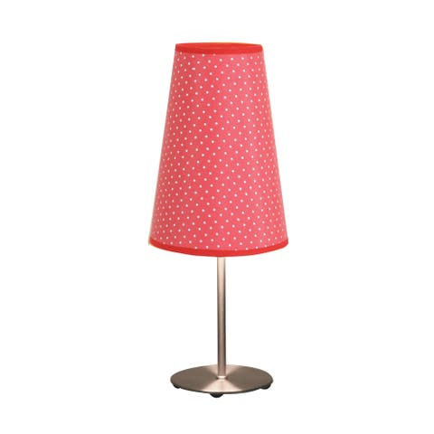 Contemporary Brushed Nickel Red Dot Table Lamp