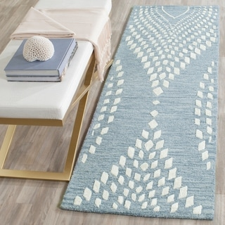 Safavieh Handmade Bella Blue/ Ivory Wool Rug (2' 3 x 7')